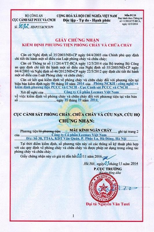 Chứng nhận kiểm định phương tiện PCCC tháng 10/2014